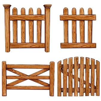 Aquarel houten hek collectie