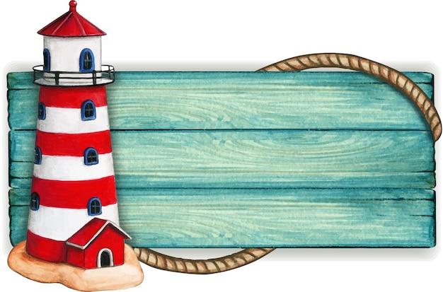 Aquarel houten nautische vintage banner