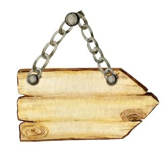 Aquarel houten pijl borden, lege leeg geïsoleerd.