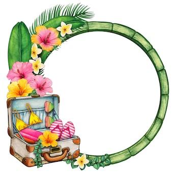 Aquarel houten ronde frame met tropische bloemen en koffer