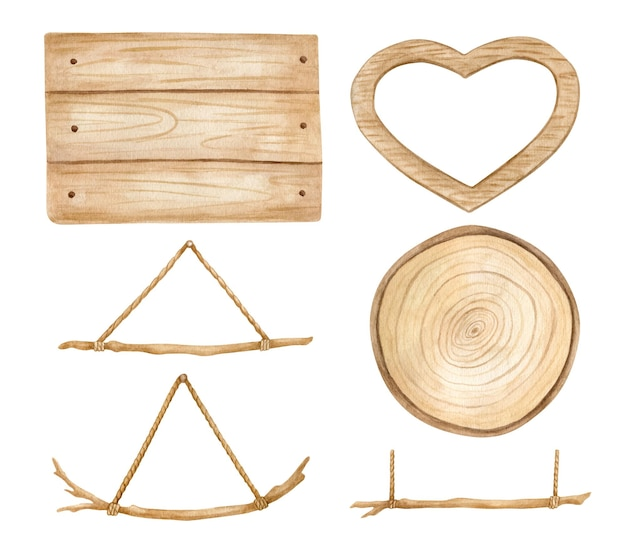Aquarel houten set met uithangborden houten plakjes en stokken