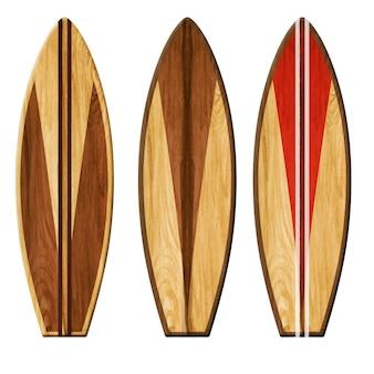 Aquarel houten surfplanken