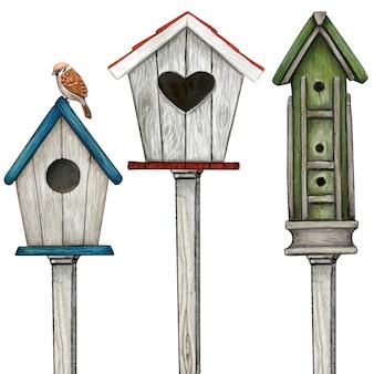 Aquarel houten vogelhuisjes