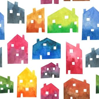 Aquarel huizen naadloze patroon textuur achtergrond stad ontwerp architectuur gebouwen