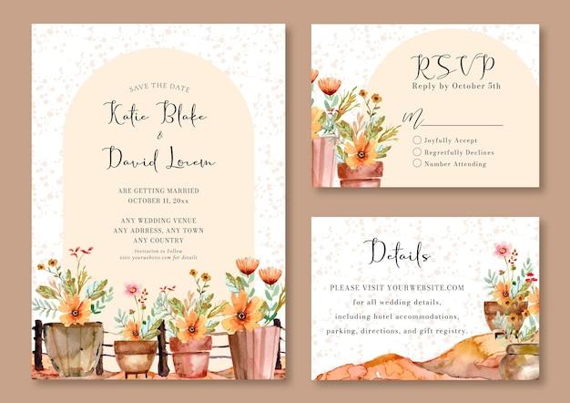 Aquarel huwelijksuitnodiging met boho bloemen in de pot en splatter achtergrond