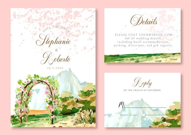 Aquarel huwelijksuitnodiging van blue misty mountain en bloemen in de tuin