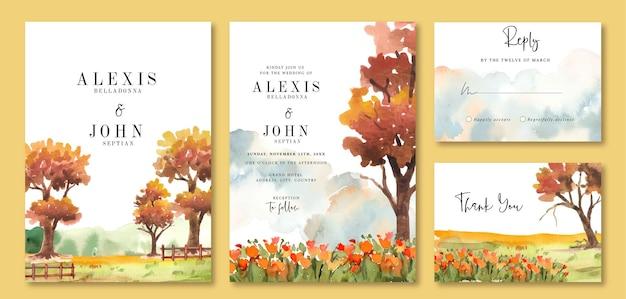 Aquarel huwelijksuitnodiging van tuin met oranje herfstbomen