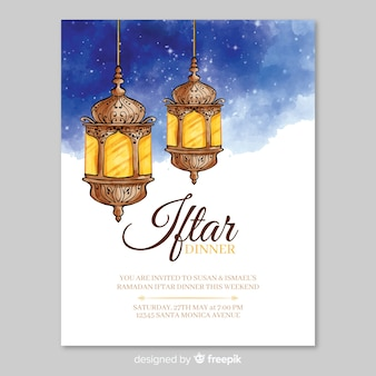 Aquarel iftar uitnodiging sjabloon
