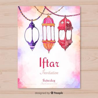 Aquarel iftar uitnodiging