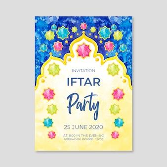 Aquarel iftar uitnodigingssjabloon