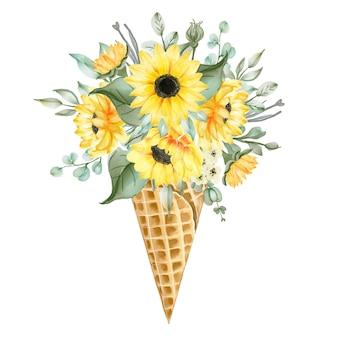 Aquarel ijsje met bloemen