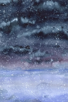 Aquarel illustratie abstractie donkere achtergrond weer sombere sneeuwval indigo kleuren