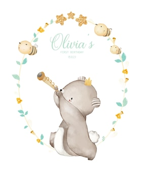 Aquarel illustratie baby beer verjaardagsfeestje uitnodiging