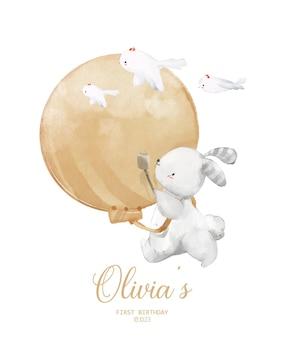 Aquarel illustratie baby konijn verjaardagsfeestje uitnodiging