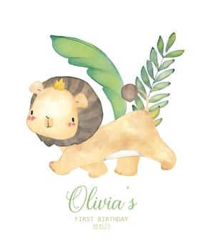 Aquarel illustratie baby leeuw verjaardagsfeestje uitnodiging