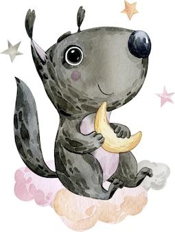 Aquarel illustratie foto tekening schattig zwart eekhoorn dier met grote ogen die de maan vasthouden