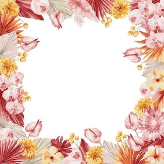 Aquarel illustratie, herfst frame in boheemse stijl met bordeauxrode palmbladeren, orchidee, protea, gele aster en anthurium