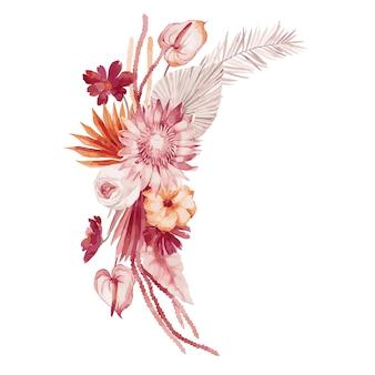 Aquarel illustratie, herfstboeket, samenstelling in boheemse stijl met bordeauxrode palmbladeren, orchidee, protea, gele aster en anthurium