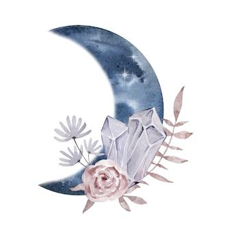Aquarel illustratie. magische abstracte compositie. maan en edelstenen en bloemen. magische illustratie geïsoleerd op een witte achtergrond.