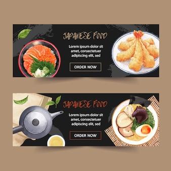 Aquarel illustratie met creatieve sushi-thema voor banners, reclame en folder.