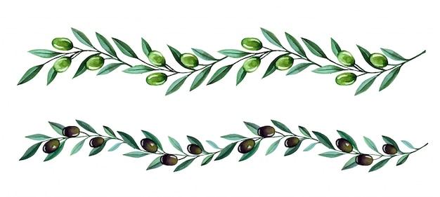 Aquarel illustratie met olijftakken grenzen. bloemenillustratie voor stationair huwelijk, groeten, behang, mode en uitnodigingen.