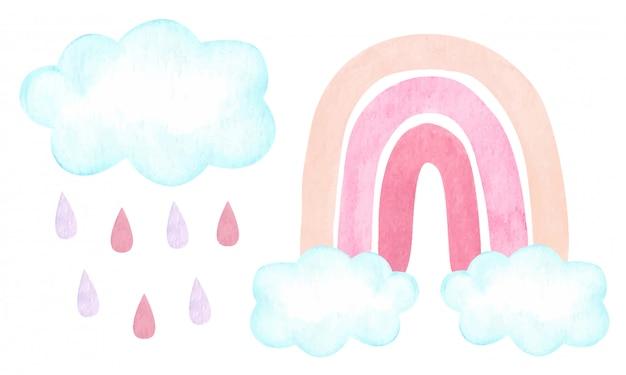 Aquarel illustratie met trendy carm neutrale regenboog, wolken, regendruppels op wit wordt geïsoleerd. babydouche, kinderkamer inrichting.