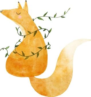 Aquarel illustratie print rood oranje vos met staart en bladeren