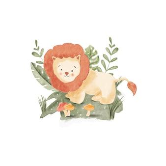 Aquarel illustratie schattige leeuw, voor kinderdagverblijf en baby shower