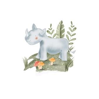 Aquarel illustratie schattige neushoorn, voor kinderdagverblijf en baby shower
