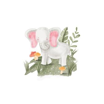 Aquarel illustratie schattige olifant, voor kinderdagverblijf en baby shower