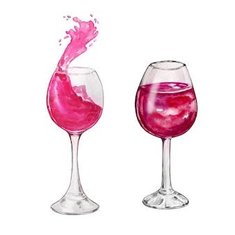 Aquarel illustratie twee glazen met rode wijn splash