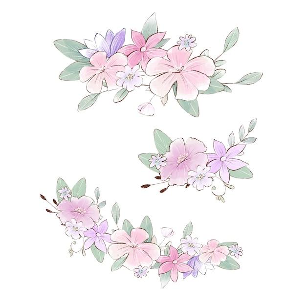 Aquarel illustratie van boeketten samenstelling met delicate lentebloemen