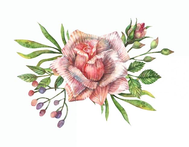 Aquarel illustratie van een boeket van roze rozen, knoppen, bladeren, takken en andere veldkruiden.