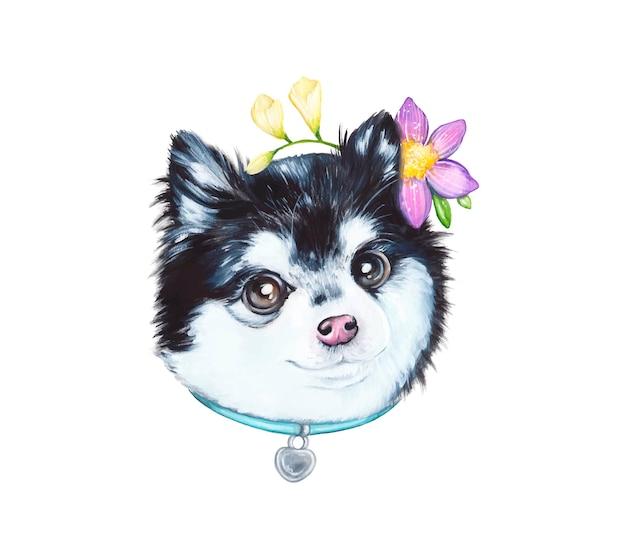Aquarel illustratie van een hond