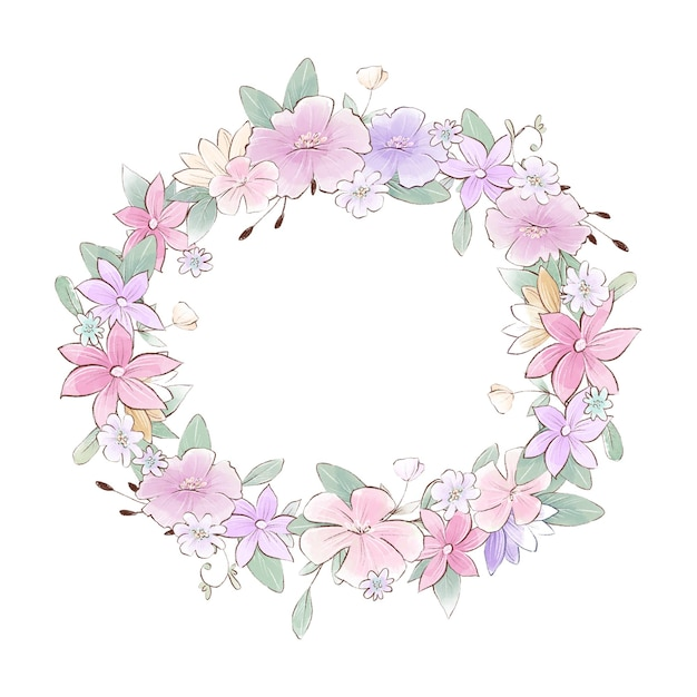 Aquarel illustratie van een krans met delicate bloemen