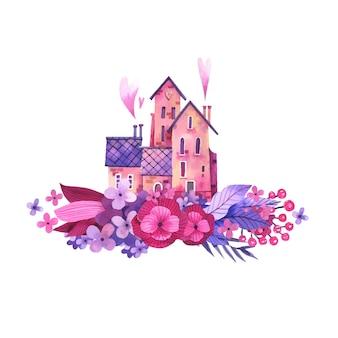 Aquarel illustratie van een lief huis in bloemen.