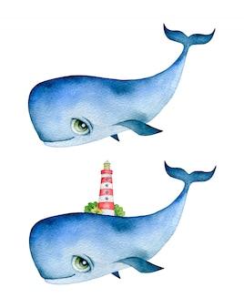 Aquarel illustratie van een schattige cartoon blauwe vinvis met grote ogen en een vuurtoren op zijn rug