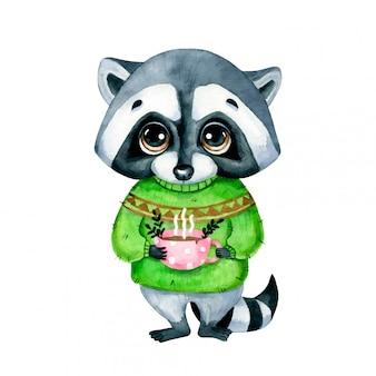 Aquarel illustratie van een schattige cartoon wasbeer in een trui met een kopje thee