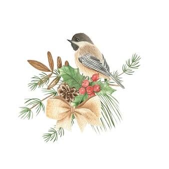 Aquarel illustratie van een vogel en planten. nieuwjaarskaart.