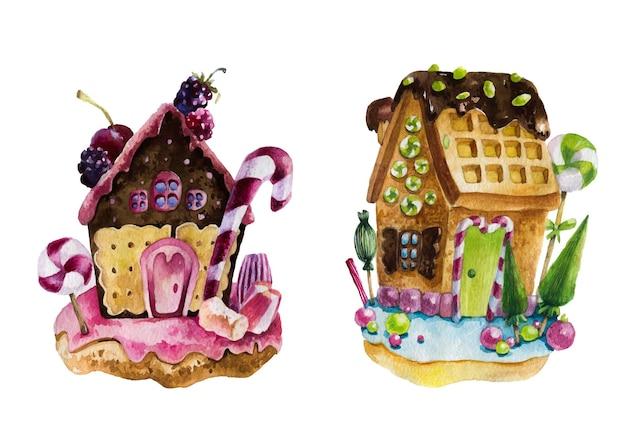 Aquarel illustratie van peperkoek huis omgeven door snoep.