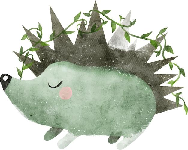Aquarel illustratie van stekelige egel met bladeren