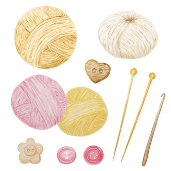 Aquarel illustraties hobby breien en haken, wol garen, bottons cute clipart set. collectie van handgetekende bollen garen voor breien