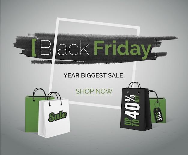 Aquarel in frame en boodschappentassen, groene en zwarte spatten op betonnen vloer en effen achtergrond. black friday-verkoopkortingen vectorgrungebanner voor webadvertentie.