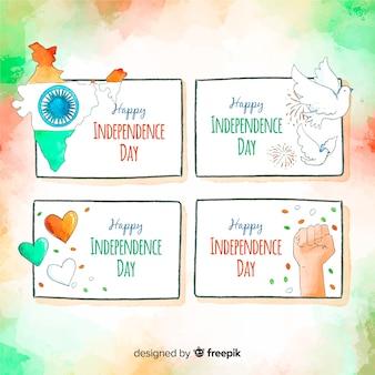 Aquarel india onafhankelijkheidsdag kenteken collectie