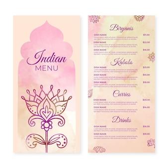 Aquarel indiase menusjabloon