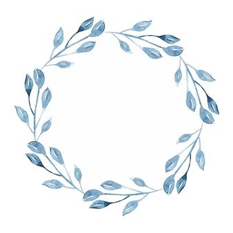 Aquarel indigo bloemen krans met takje, tak en abstracte bladeren