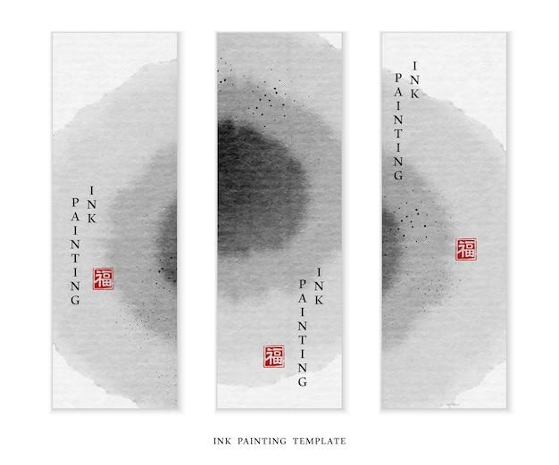Aquarel inkt verf illustratie banner achtergrond sjabloon ronde cirkel.