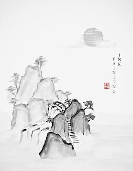Aquarel inkt verf kunst illustratie landschapsmening van rots klif waterval en zon