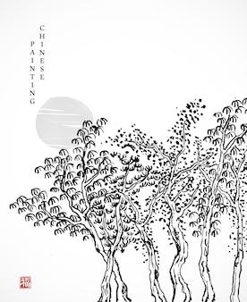Aquarel inkt verf kunst textuur illustratie boom achtergrond.