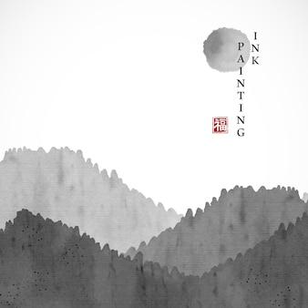 Aquarel inkt verf kunst textuur illustratie landschap van berg en zon.